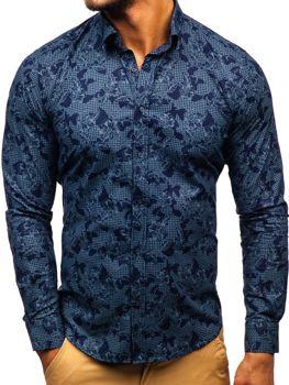 984d157b2b0 Мужская рубашка с узором с длинным рукавом темно-синяя Bolf 200G64