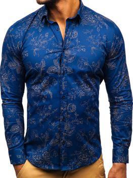 Мужская рубашка с узором с длинным рукавом темно-синяя Bolf 200G67