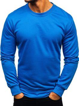 Мужская толстовка без капюшона синяя Bolf 22003