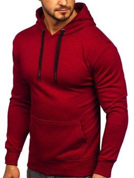 Мужская толстовка с капюшоном бордовая Bolf 1004