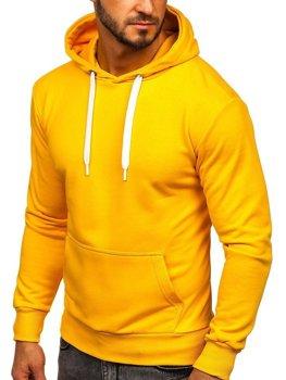 Мужская толстовка с капюшоном желтая Bolf 1004