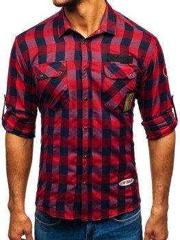 Мужская фланелевая рубашка с длинным рукавом красная Bolf 2503