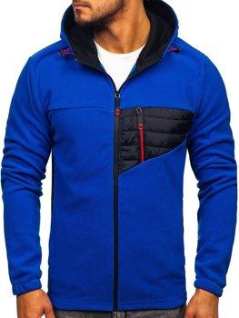 Мужская флисовая толстовка с капюшоном синяя Bolf YL011