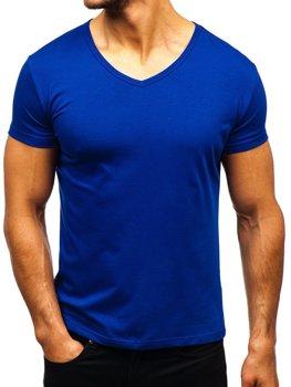 Мужская футболка без принта с v-образным вырезом васильковая Bolf AK888A
