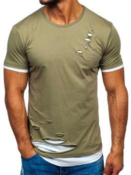 Мужская футболка без принта хаки Bolf 10999