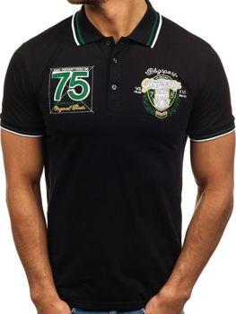 Мужская футболка поло черная Bolf 0605