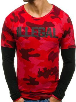 Мужская футболка с длинным рукавом красная Bolf 1162