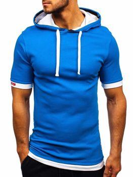 Мужская футболка с капюшоном синяя Bolf 08-1