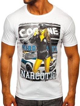 Мужская футболка с принтом белая Bolf 004