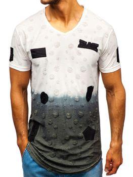 Мужская футболка с принтом белая Bolf 318