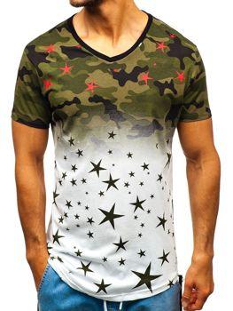 Мужская футболка с принтом камуфляж бело-зеленая Bolf 324