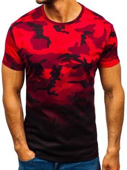 Мужская футболка с принтом камуфляж-красная Bolf S808