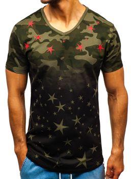 Мужская футболка с принтом камуфляж черно-зеленая Bolf 324