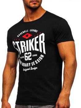Мужская футболка с принтом черная Bolf 10816