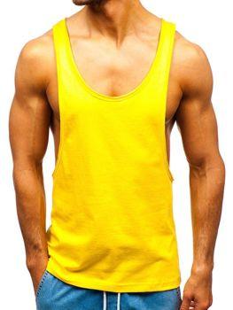 Мужская футболка tank top без принта желтая Bolf 1245