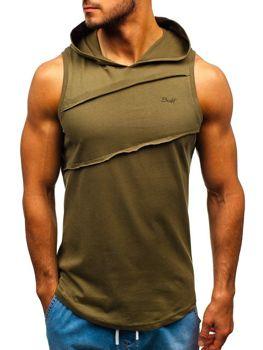 Мужская футболка tank top с капюшоном хаки Bolf 1266