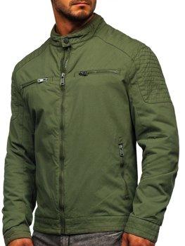 Мужская элегантная демисезонная куртка зеленая Bolf 1816
