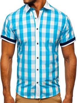 Мужская элегантная рубашка в клетку с коротким рукавом бирюзовая Bolf 8901