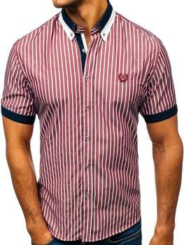 Мужская элегантная рубашка в клетку с коротким рукавом бордовая Bolf 4501
