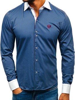 Мужская элегантная рубашка в полоску с длинным рукавом темно-синяя Bolf 4784-A