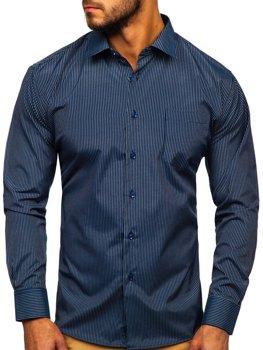 Мужская элегантная рубашка в полоску с длинным рукавом темно-синяя Bolf NDT10