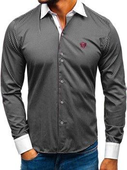Мужская элегантная рубашка в полоску с длинным рукавом черная Bolf 4784-A