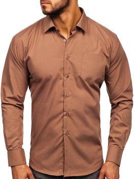 Мужская элегантная рубашка с длинным рукавом коричневая Bolf 0003