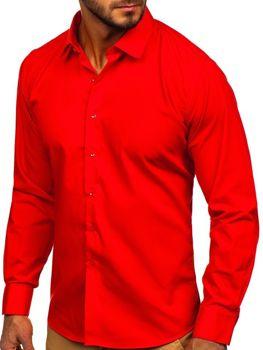 Мужская элегантная рубашка с длинным рукавом красная Bolf 0001