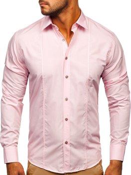 Мужская элегантная рубашка с длинным рукавом розовая Bolf 4705G