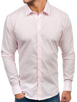 Мужская элегантная рубашка с длинным рукавом розовая Bolf TS100