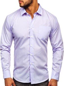 Мужская элегантная рубашка с длинным рукавом светло-фиолетовая Bolf 0003