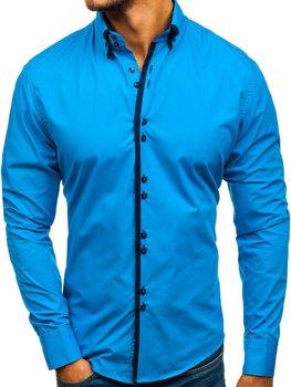 Мужская элегантная рубашка с длинным рукавом синяя Bolf 1721-A