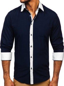 Мужская элегантная рубашка с длинным рукавом темно-синяя Bolf 6882