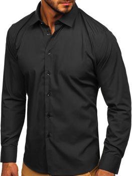 Мужская элегантная рубашка с длинным рукавом черная Bolf 0001