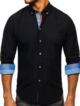 Мужская элегантная рубашка с длинным рукавом черная Bolf 8838-1