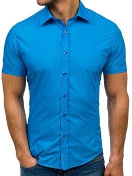 Мужская элегантная рубашка с коротким рукавом бирюзовая Bolf 7501
