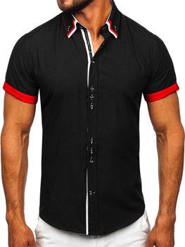 Мужская элегантная рубашка с коротким рукавом черная Bolf 2926