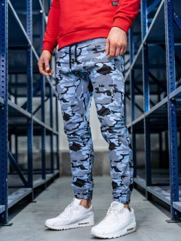 Мужские брюки джоггеры карго голубые Bolf 0404