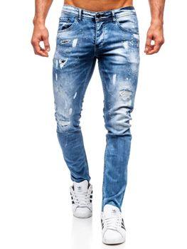Мужские джинсовые брюки regular fit темно-синие Bolf 4013