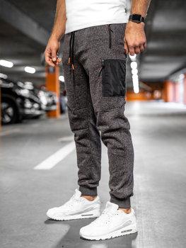 Мужские спортивные брюки антрацитово-оранжевые Bolf Q3768