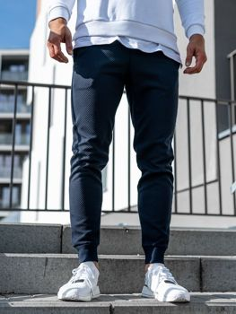 Мужские спортивные брюки джоггеры темно-синие Bolf 1884