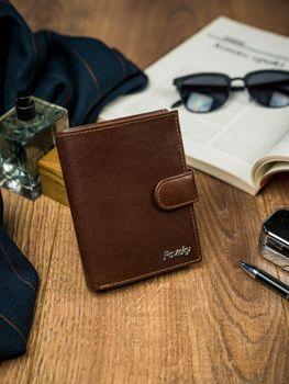 Мужской кожаный кошелек коричневый 4515