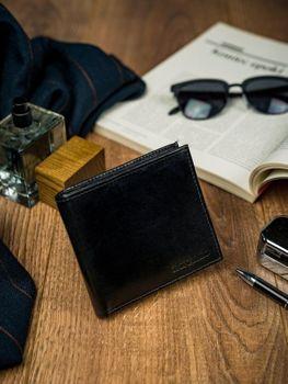 Мужской кожаный кошелек черный 4587