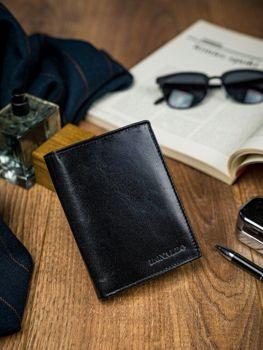 Мужской кожаный кошелек черный 4593