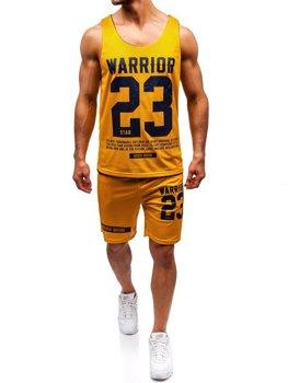 Мужской комплект футболка + шорты Bolf желтый 100778