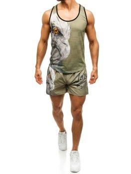 Мужской пляжный комплект: футболка + шорты зелено-темно-синий Bolf  2117