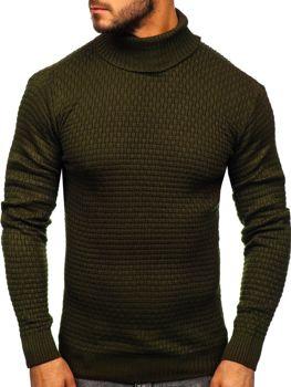 Мужской свитер гольф зеленый Bolf 323