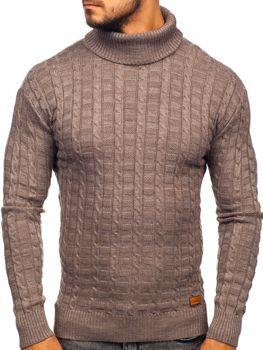 Мужской свитер гольф коричневый Bolf 16