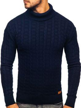 Мужской свитер гольф темно-синий Bolf 16
