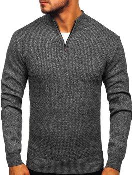 Мужской свитер на застежке графитовый Bolf 8255